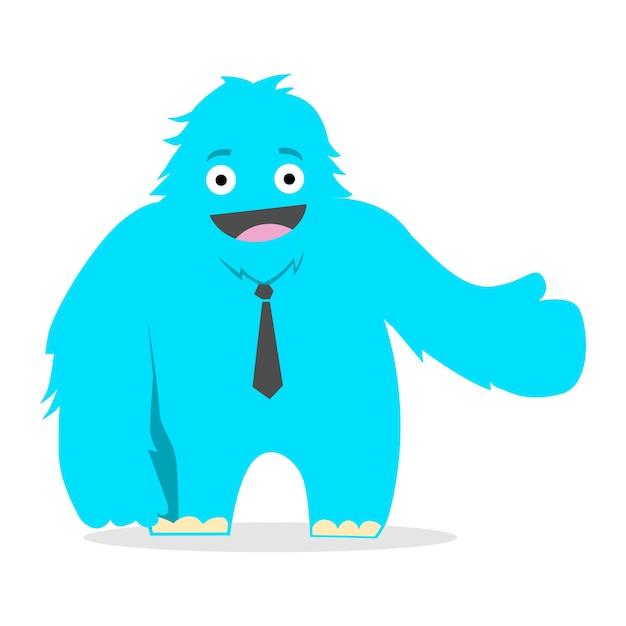 Mascote engraçado do yeti Vetor Premium