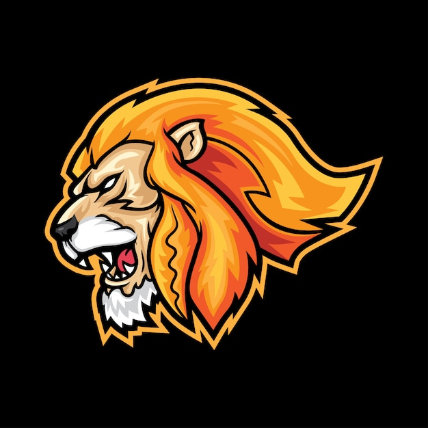 Mascote Feroz Do Logotipo Do Esporte Da Cabeca Do Leao Vetor Premium