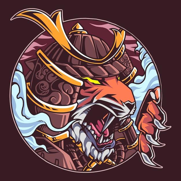 Mascote guerreiro tigre Vetor Premium