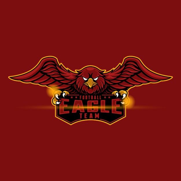 Mascote logo águia vermelha Vetor Premium