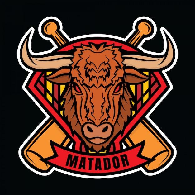 Mascote logotipo beisebol matador Vetor Premium
