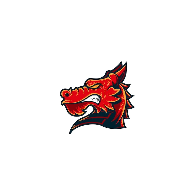 Mascote logotipo cabeça dragão Vetor Premium