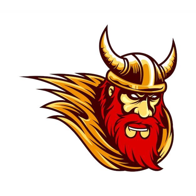 Mascote logotipo viking Vetor Premium