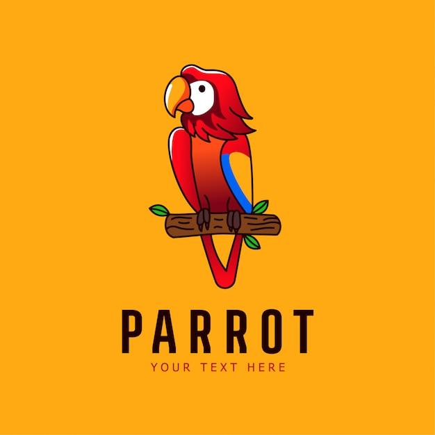 Mascote papagaio ilustração logotipo de pássaro Vetor Premium