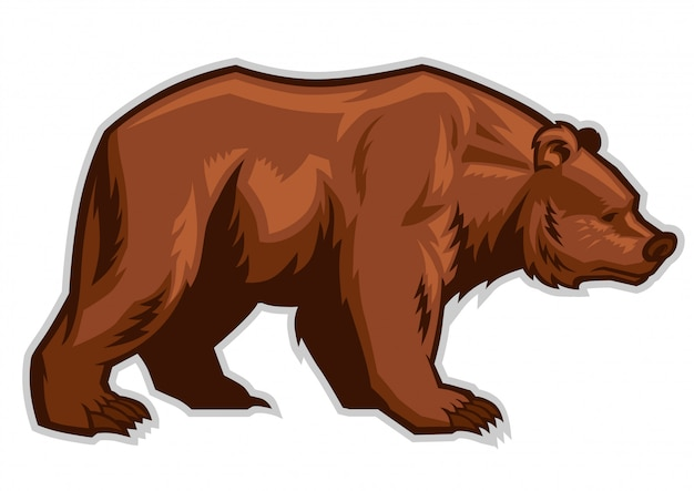 Mascote urso pardo Vetor Premium