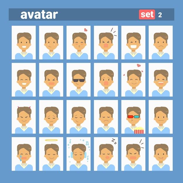 Masculino diferente emoção definir perfil avatar, homem cartoon retrato rosto coleção Vetor Premium