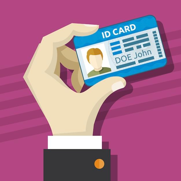 Masculino mão segurando o cartão de identificação com ilustração vetorial de foto Vetor Premium