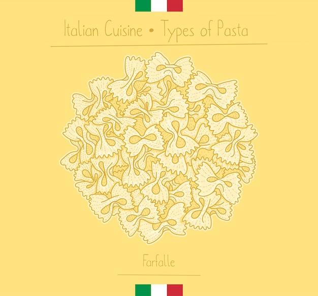Massa italiana de farfalle do laço da comida Vetor Premium