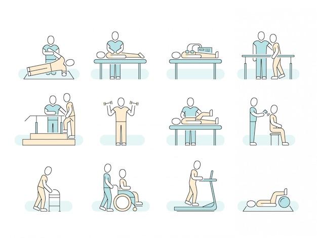 Massagem terapia spa fisioterapia linha médica ícones. Vetor Premium