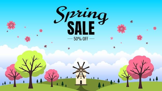 Masthead de venda de primavera com ilustração de fundo de paisagem de primavera Vetor Premium