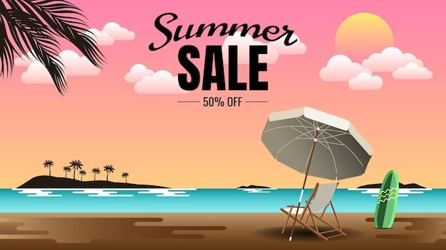 Masthead de venda de verão com ilustração de fundo de cenário de verão Vetor Premium