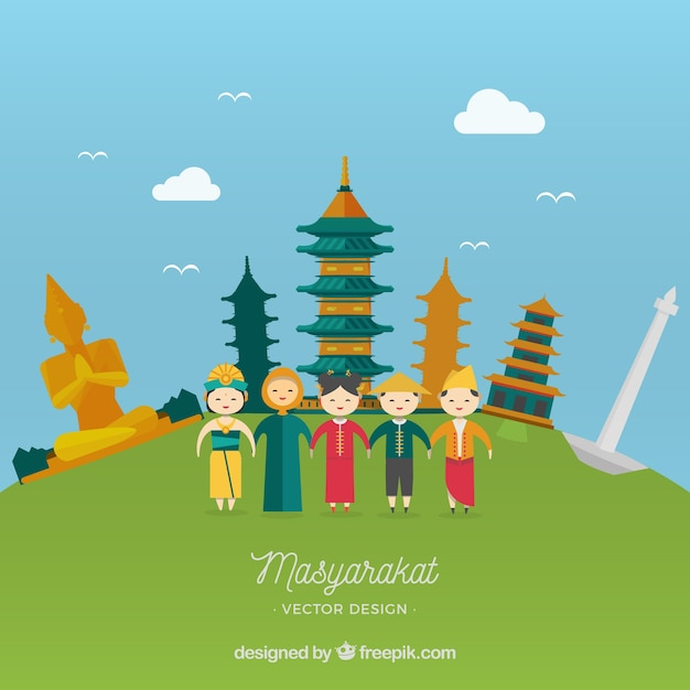 Masyarakat indonésia em estilo de desenho animado Vetor grátis