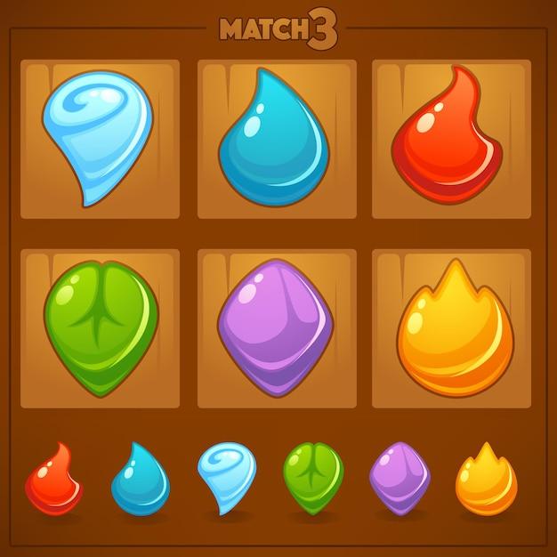 Match mobile game, objetos de jogos, terra, água, fogo, elementos da natureza Vetor Premium