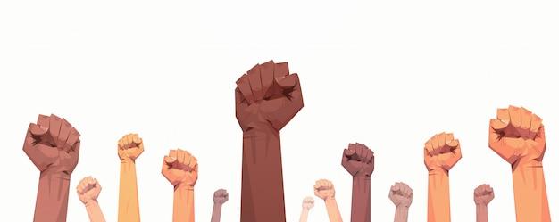 Matéria de vidas negras criada campanha de conscientização sobre punhos raciais Vetor Premium