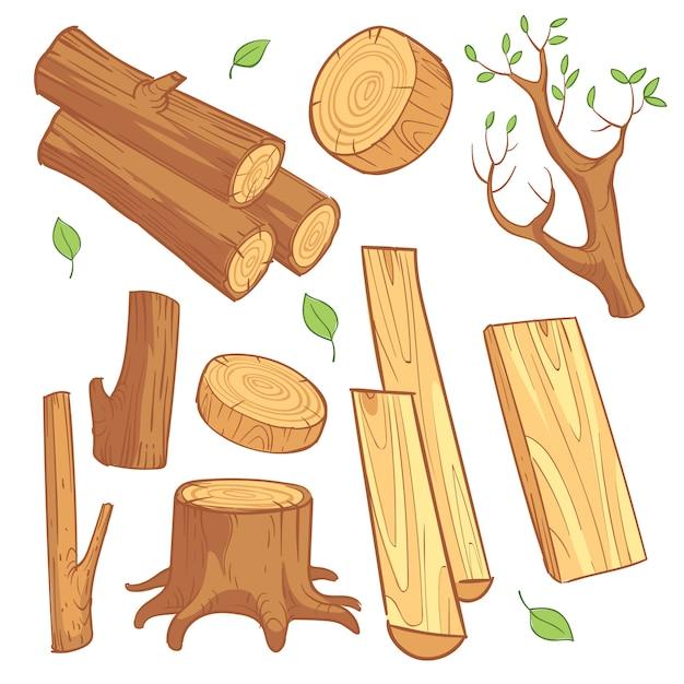 Materiais de madeira dos desenhos animados Vetor Premium