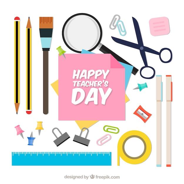 Materiais escolares dia dos professores mundiais Vetor grátis
