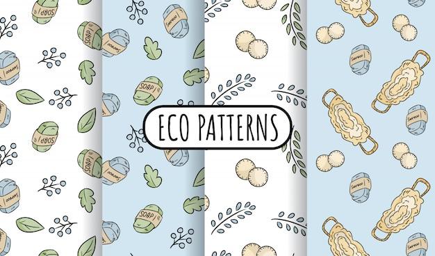 Materiais naturais eco amigável conjunto de padrões sem emenda. ladrilhos ecológicos e sem desperdício. casa verde e vida livre de plástico Vetor Premium