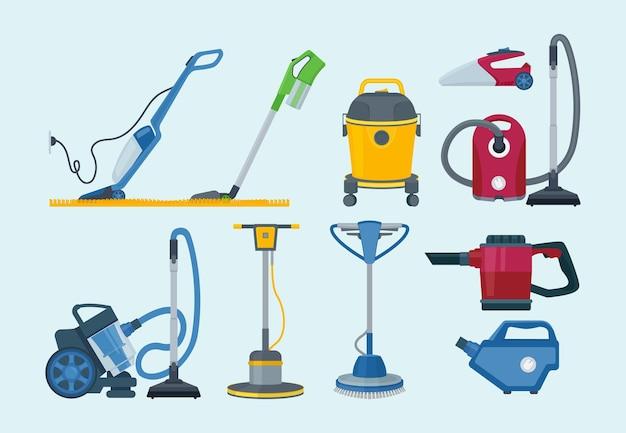 Material de limpeza. aspirador elétrico profissional fornece coleta de serviço doméstico. Vetor Premium