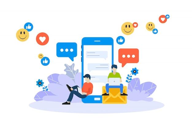 Material de marketing, publicidade online, conceito de rede social Vetor Premium