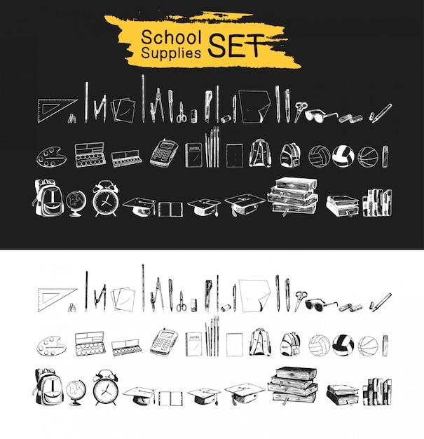 Material escolar conjunto mão desenhada coleção preto e branca Vetor Premium