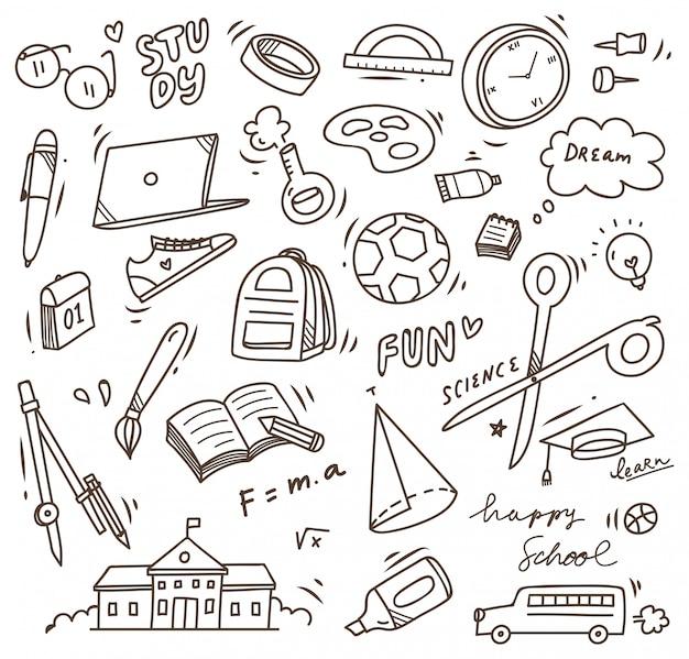 Material escolar doodle, volta para o elemento de vetor de escola Vetor Premium