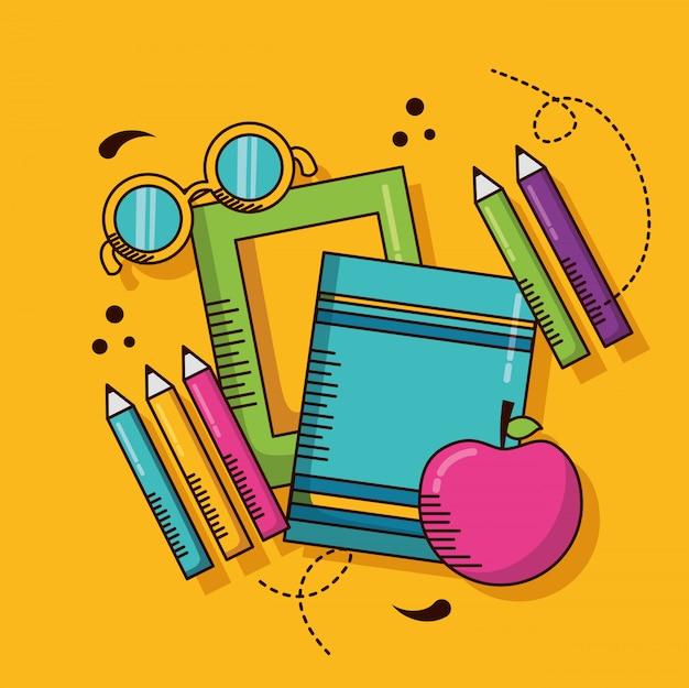 Material escolar, livros, lápis, maçã Vetor grátis