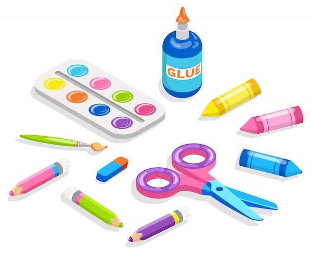 Material escolar para pintura e aplicação Vetor Premium