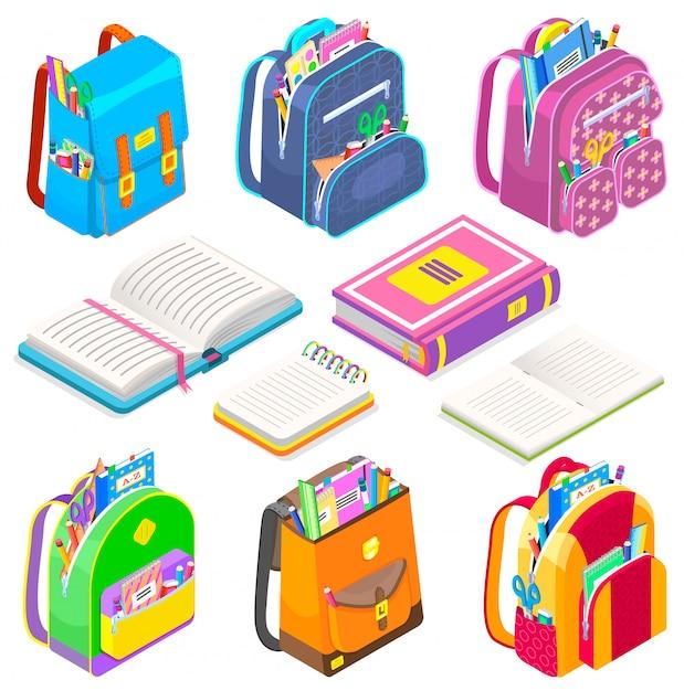Material escolar satchels e livros sacos definir ícone Vetor Premium