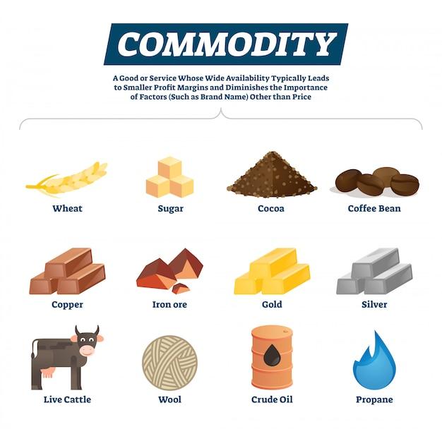 Matérias-primas e bens de commodities econômicas Vetor Premium
