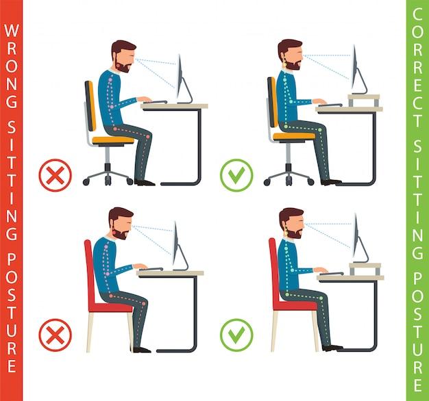 Mau e boa posição de trabalho do ser humano no computador. Vetor Premium