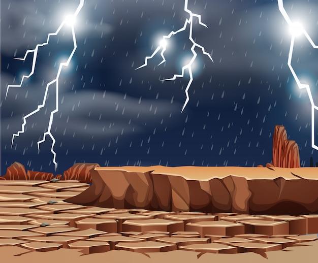 Mau tempo na terra seca Vetor grátis