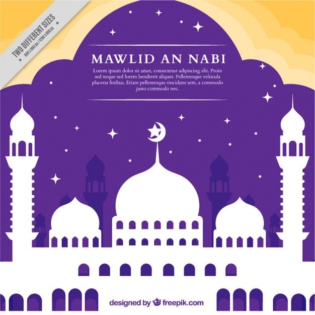 Mawlid celebração fundo silhueta da mesquita Vetor grátis