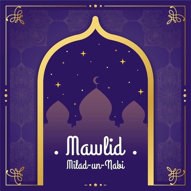 Mawlid milad-un-nabi cumprimentando com mesquita Vetor grátis