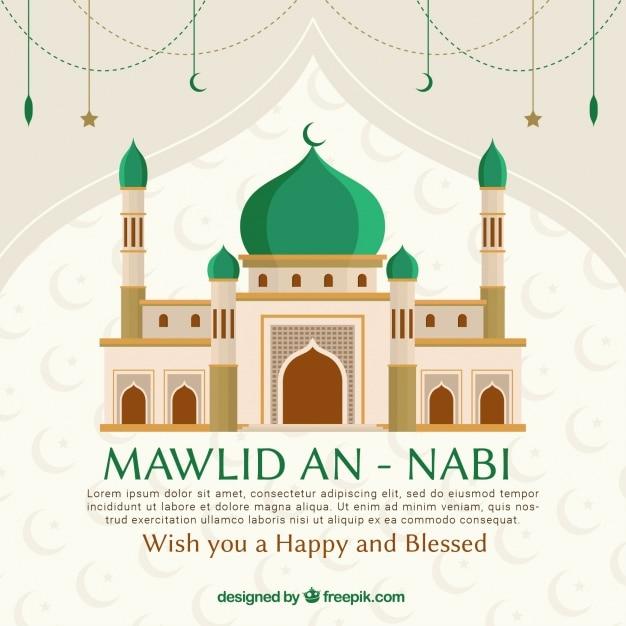 Mawlid um fundo nabi com mesquita Vetor Premium