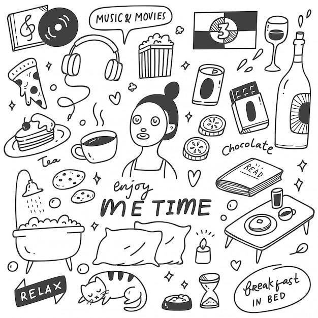 Me tempo conceito doodle ilustração Vetor Premium