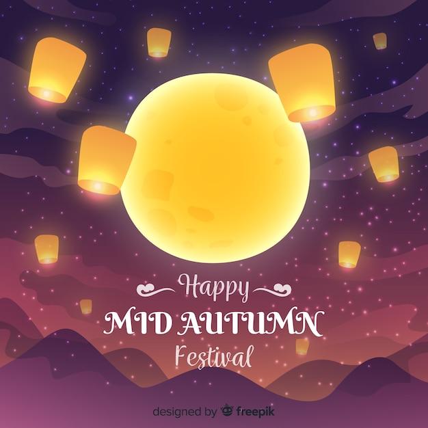 Meados outono festival fundo na mão desenhada estilo com grande lua Vetor grátis