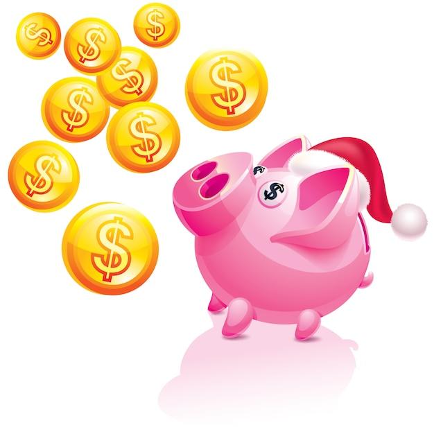 Mealheiro de ano novo por dinheiro chuva Vetor Premium