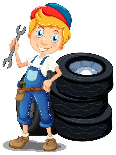 Mecânico com ferramentas e pneus Vetor grátis