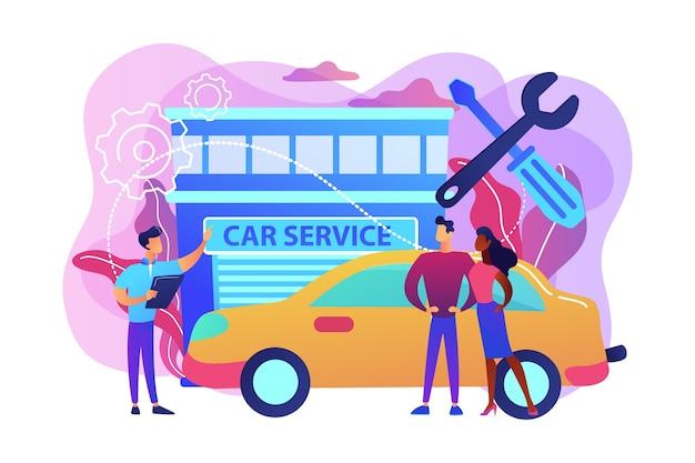 Mecânico de automóveis e empresários no serviço de automóveis, tendo seu carro reparado. serviço de carro, oficina de automóveis, conceito de serviço de reparação de veículos. ilustração isolada violeta vibrante brilhante Vetor grátis