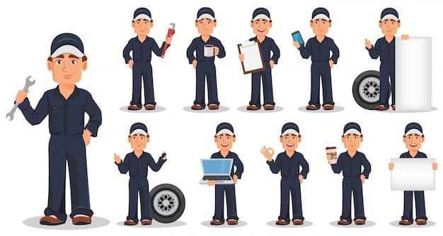 Mecânico de automóveis profissional em uniforme, conjunto Vetor Premium
