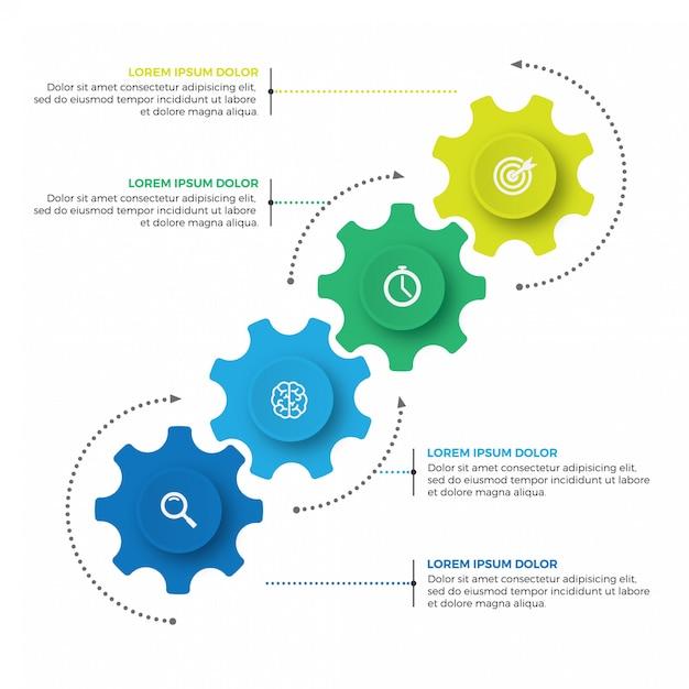 Mecanismo de negócios modelo de design infográfico com ícones e 4 opções ou etapas. Vetor Premium
