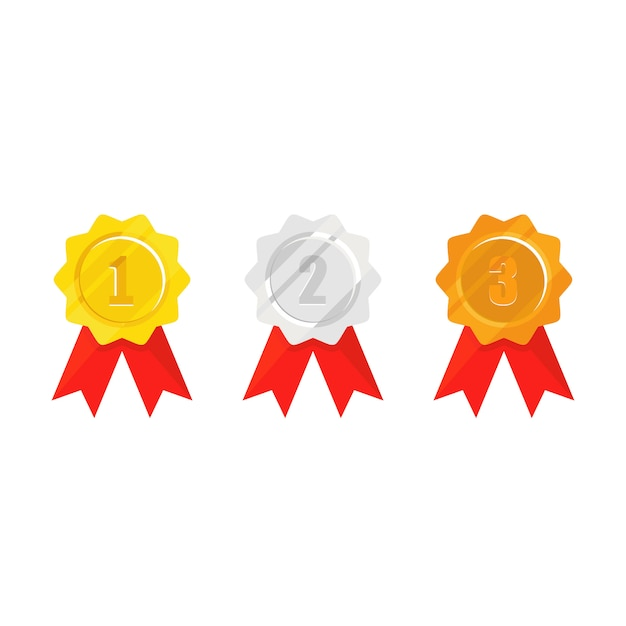 Medalha de campeão com fita vermelha Vetor Premium