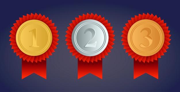 Medalha de ouro campeã, prata e bronze com fitas vermelhas Vetor Premium