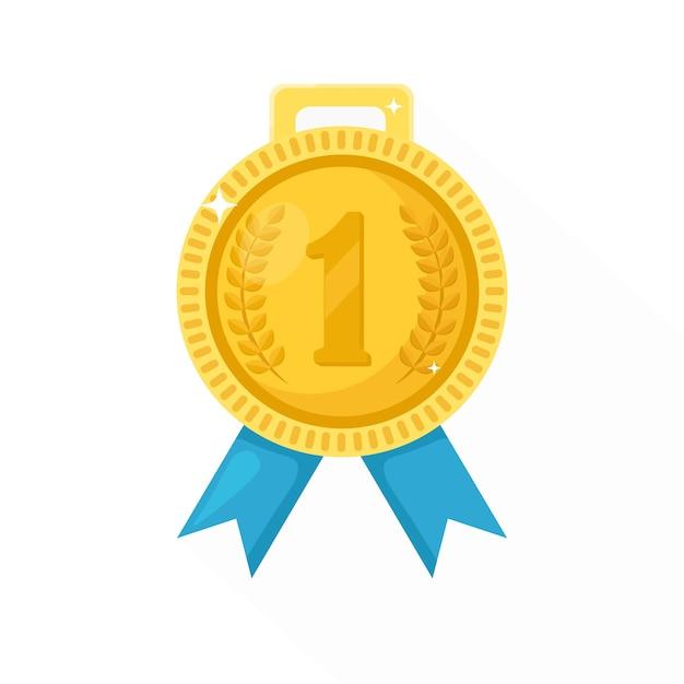 Medalha de ouro com fita azul para o primeiro lugar. troféu, prêmio do vencedor em segundo plano. ícone do emblema dourado. esporte, realização de negócios, vitória. ilustração. Vetor Premium