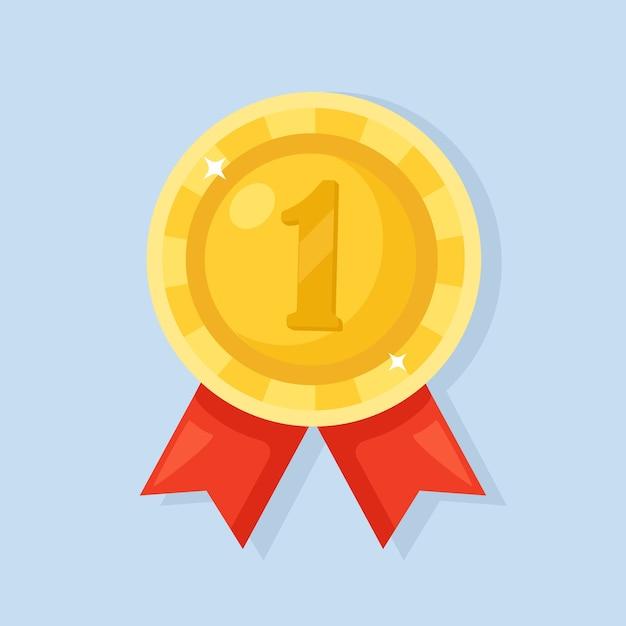 Medalha de ouro com fita vermelha para o primeiro lugar. troféu, prêmio do vencedor isolado no fundo. Vetor Premium