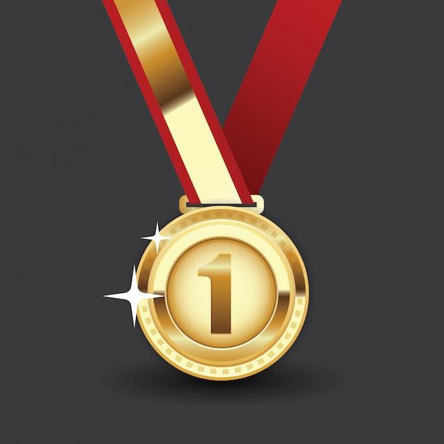 Medalha de ouro com fita vermelha. primeiro prêmio, realização de prêmio. Vetor Premium