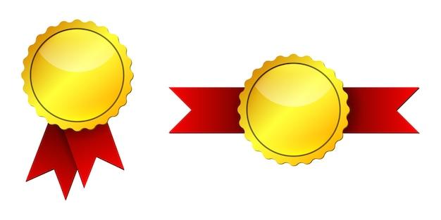 Medalha de ouro com fitas vermelhas. conjunto de medalhas de ouro isoladas em fundo branco Vetor Premium