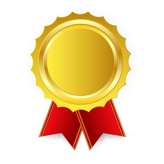 Medalha de ouro de arte de campeão com fita vermelha, primeiro lugar isolado no fundo. Vetor Premium