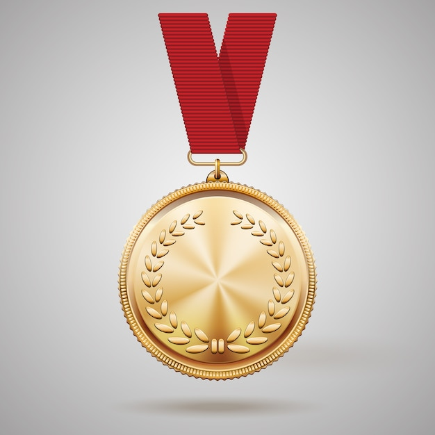 Medalha de ouro de vetor em fita vermelha com detalhes em relevo da coroa de louros e reflexos conceituais de um prêmio pela conquista da vitória na primeira colocação Vetor grátis