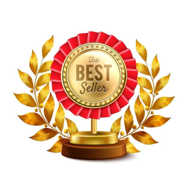 Medalha de ouro do melhor vendedor Vetor grátis